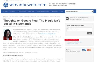 http://semanticweb.com/thoughts-on-google-plus-the-magic-isnt-social-its-semantic_b21852