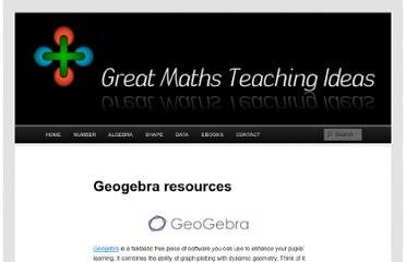 http://www.greatmathsteachingideas.com/geogebra-resources/