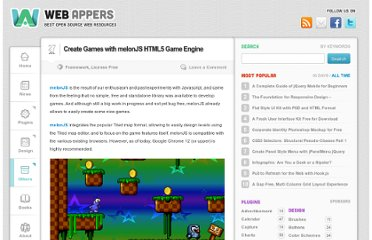 http://www.webappers.com/2011/07/27/create-games-with-melonjs-html5-game-engine/