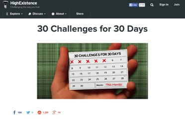 http://www.highexistence.com/30-challenges-for-30-days/