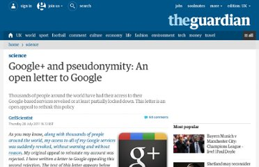 http://www.guardian.co.uk/science/punctuated-equilibrium/2011/jul/28/google-open-letter-google
