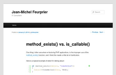http://blog.jmfeurprier.com/2010/01/03/method_exists-vs-is_callable/