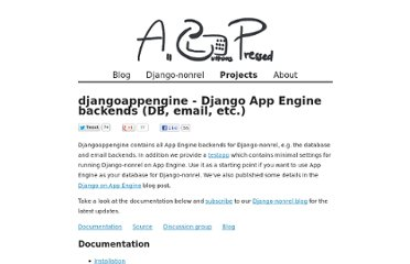 http://www.allbuttonspressed.com/projects/djangoappengine#installation