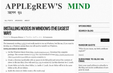 http://blog.applegrew.com/2011/04/installing-nodejs-in-windows-the-easiest-way/