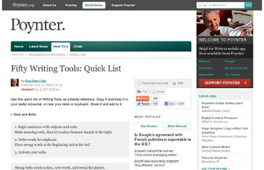 http://www.poynter.org/how-tos/newsgathering-storytelling/writing-tools/76067/fifty-writing-tools-quick-list/