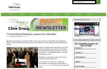 http://www.theclinegroup.com/2010/07/22/social-media-marketing-lessons-from-mad-men/