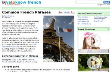 http://french.lovetoknow.com/Common_French_Phrases