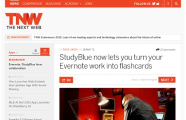 http://thenextweb.com/apps/2011/05/10/studyblue-now-lets-you-turn-your-evernote-work-into-flashcards/