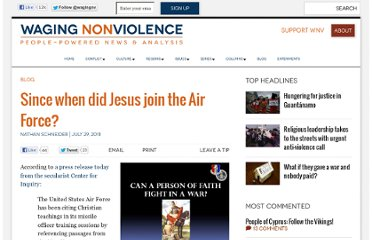 http://wagingnonviolence.org/2011/07/since-when-did-jesus-join-the-air-force/