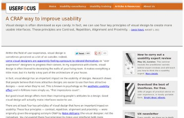 http://www.userfocus.co.uk/articles/A_CRAP_way_to_improve_usability.html