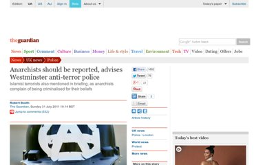http://www.guardian.co.uk/uk/2011/jul/31/westminster-police-anarchist-whistleblower-advice