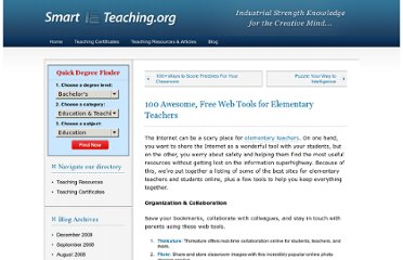 http://www.smartteaching.org/blog/2008/08/100-awesome-free-web-tools-for-elementary-teachers/