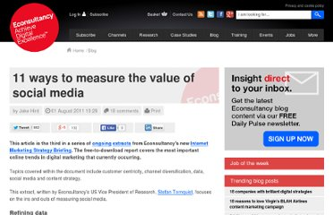 http://econsultancy.com/uk/blog/7838-11-ways-to-measure-the-value-of-social-media