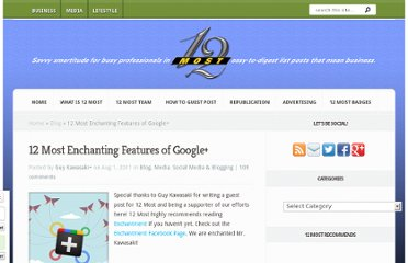 http://12most.com/2011/08/01/12-enchanting-features-google/