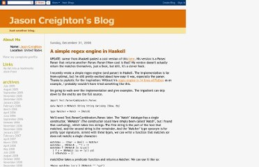 http://jcreigh.blogspot.com/2006/12/simple-regex-engine-in-haskell.html