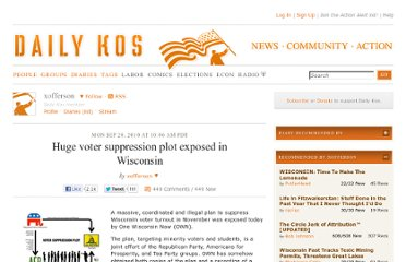 http://www.dailykos.com/story/2010/09/20/903538/-Huge-voter-suppression-plot-exposed-in-Wisconsin