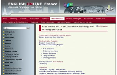 http://eolf.univ-fcomte.fr/index.php?page=academic-reading-and-writing-exercises