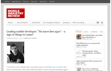http://www.mobileindustryreview.com/2011/02/leading-mobile-developer-no-more-free-apps-a-sign-of-things-to-come.html