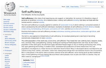 http://en.wikipedia.org/wiki/Self-sufficiency