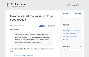 http://venturehacks.com/articles/seed-valuation
