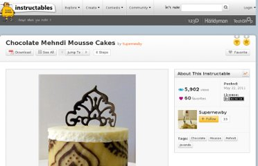 http://www.instructables.com/id/Chocolate-Mehndi-Mousse-Cakes/