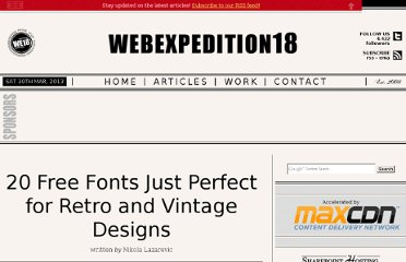 http://webexpedition18.com/articles/20-free-retro-vintage-fonts/