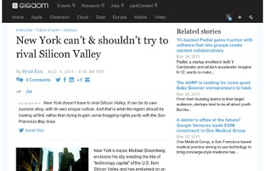 http://gigaom.com/2011/08/04/new-york-cant-and-shouldnt-try-to-rival-silicon-valley/
