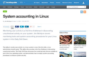 http://www.techrepublic.com/article/system-accounting-in-linux/1053377