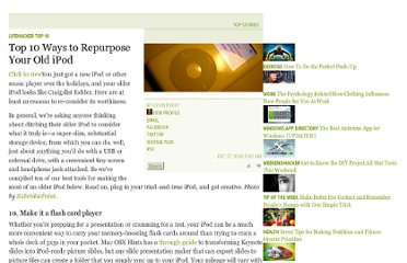 http://lifehacker.com/5117895/top-10-ways-to-repurpose-your-old-ipod