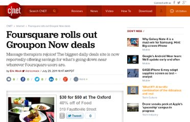 http://news.cnet.com/8301-1023_3-20085428-93/foursquare-rolls-out-groupon-now-deals/