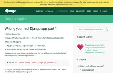 https://docs.djangoproject.com/en/dev/intro/tutorial01/