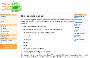 http://logback.qos.ch/manual/index.html
