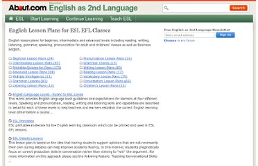 http://esl.about.com/od/englishlessonplans/English_Lesson_Plans_for_ESL_EFL_Classes.htm
