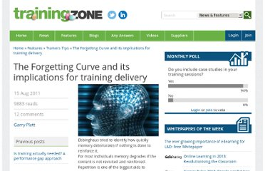 http://www.trainingzone.co.uk/topic/forgetting-curve-and-its-implications-training-delivery/162373