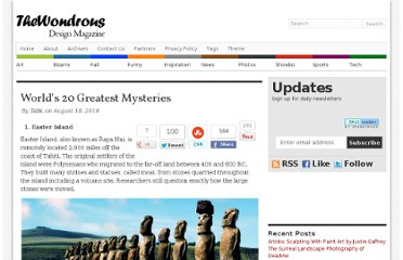 http://thewondrous.com/worlds-20-greatest-mysteries/