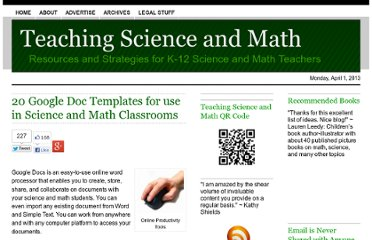 http://www.teachscienceandmath.com/2010/09/24/20-google-doc-templates-for-use-in-science-and-math-classrooms/
