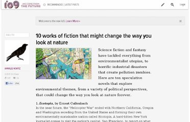 http://io9.com/5783874/10-works-of-environmental-fiction-that-might-change-the-way-you-look-at-nature