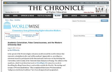 http://chronicle.com/blogs/worldwise/academic-colonialism-false-consciousness-and-the-western-university-ideal/28513