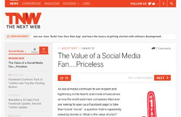 http://thenextweb.com/socialmedia/2010/08/24/the-value-of-a-social-media-fan-priceless/