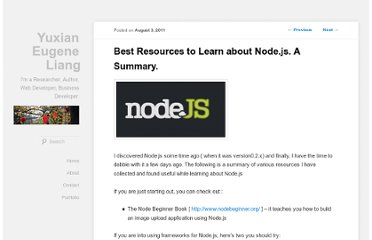 http://www.liangeugene.com/2011/08/best-resources-to-learn-about-node-js/