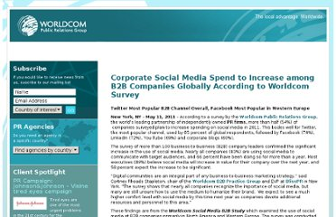 http://www.worldcomprgroupemea.com/social-media/corporate-social-media-spend-to-increase-among-b2b-companies-globally-according-to-worldcom-survey/