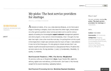 http://robwebb2k.wordpress.com/2008/03/31/my-picks-the-best-service-providers-for-startups/
