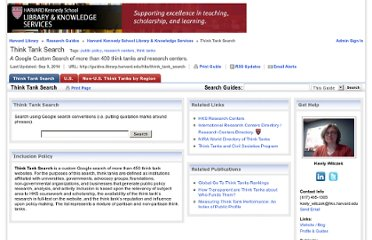http://www.hks.harvard.edu/library/research/guides/think-tanks-directory.htm