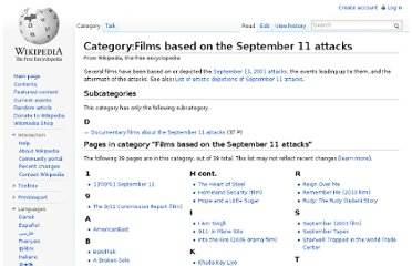 http://en.wikipedia.org/wiki/Category:Films_based_on_the_September_11_attacks