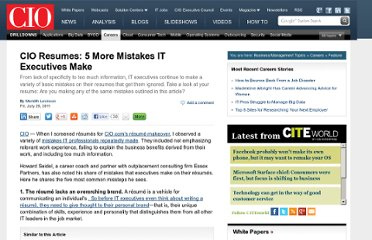 http://www.cio.com/article/686896/CIO_Resumes_5_More_Mistakes_IT_Executives_Make_