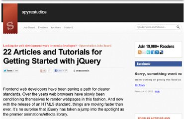 http://spyrestudios.com/22-articles-and-tutorials-for-getting-started-with-jquery/