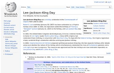 http://en.wikipedia.org/wiki/Lee%E2%80%93Jackson%E2%80%93King_Day