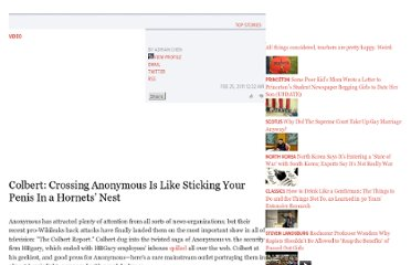 http://gawker.com/5769950/colbert-crossing-anonymous-is-like-sticking-your-penis-in-a-hornets-nest