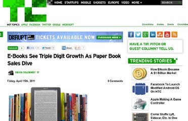 http://techcrunch.com/2011/04/15/e-books-see-triple-digit-growth-as-paper-book-sales-dive/
