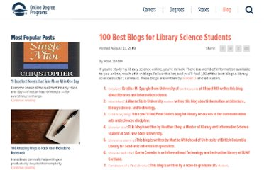 http://www.onlinedegreeprograms.com/blog/2009/100-best-blogs-for-library-science-students/